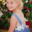 Portrait of a little girl at Christmas time - Stock Photo