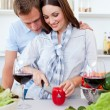 Intimate couple preparing dinner — Stock Photo #10295059