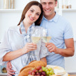 Stock Photo: Happy couple drinking white wine