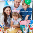 Cute little girl celebrating her birthday — Stock Photo