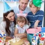 Happy little girl celebrating her birthday — Stock Photo