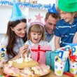 Blond little girl celebrating her birthday — Stock Photo