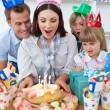 Attractive mother celebrating her birthday — Stock Photo
