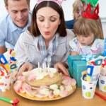 Brunette mother celebrating her birthday — Stock Photo