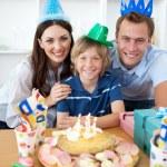 Happy little boy celebrating his birthday — Stock Photo
