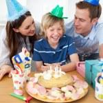 Cute little boy celebrating his birthday — Stock Photo
