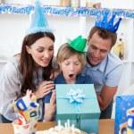 Blond child celebrating his birthday — Stock Photo
