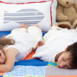 Stock Photo: Brother and sister sleeping