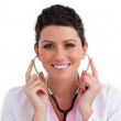 Portrait of a nurse holding a stethoscope — Stock Photo #10295678