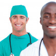 Portrait of attractive male doctors — Stock Photo #10295926