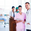 Portrait of a multi-ethnic medical team at work - Stockfoto