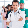 International medical group standing in a row — Stock Photo