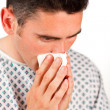 Close-up of a patient sneezing — Stock Photo