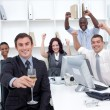 Successful businessteam driking champagne in office — Stock Photo #10296937
