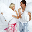 Stock Photo: Young couple having a pillow fight