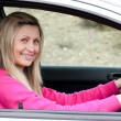 Stock Photo: Smiling female driver at wheel