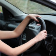 Charming female driver at the wheel — Stock Photo #10297147