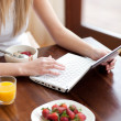 Blond woman using a laptop while having breakfast — Stock Photo #10297197