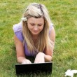 Charming young woman using a laptop in a park — Stock Photo