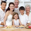 Stock Photo: Big family baking in the kitchen