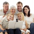 Happy family in a videoconference - Foto Stock