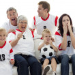 Stock Photo: Family watching a football match in television