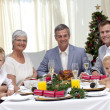 Family celebrating Christmas dinner - Stock Photo