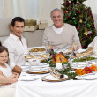 Family celebrating Christmas dinner — Stock Photo #10298123