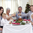 Family tusting in a Christmas dinner — Stock Photo