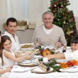 Children pulling a Christmas cracker at home — Stock Photo #10298155