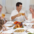 Parents and grandparents tusting with wine in a dinner — Stock Photo #10298179