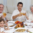 Family tusting with wine in a dinner smiling at the camera — Stock Photo