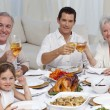Family tusting with wine in a dinner smiling at the camera — Stock Photo #10298180