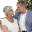 Senior couple in love in Christmas — Stock Photo