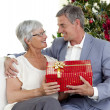 Royalty-Free Stock Photo: Senior man giving a Christmas present to his wife