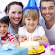 Happy daughtrer on her birthday's day — Stock Photo