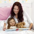 Mother and daughter reading in bed — Stock Photo #10298514