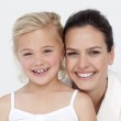 Portrait of mother and daughter in bathroom — Stock Photo