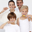 Portrait of family cleaning their teeth in bathroom — Stock Photo