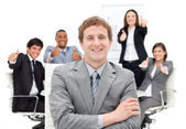 International business with thumbs up — Stock Photo