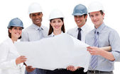 A diverse group of architects holding a blueprint — Stock Photo