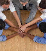 Close-up of an International business team with hands together — Stock Photo