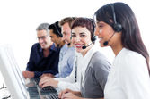 Positive business using headset — Stock Photo