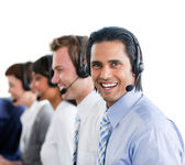 Affari entusiasta che lavora in un call center — Foto Stock