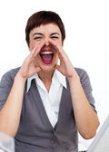 Young businesswoman yelling — Stock Photo