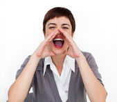 Attractive businesswoman shouting — Stock Photo
