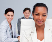 Portrait of a beautiful Afro-American businesswoman in a meeting — Stock Photo