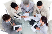 High angle of business shaking hands — Stock Photo