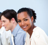 Smiling young business at work — Stock Photo