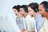 International customer service representatives with headset on — Stock Photo